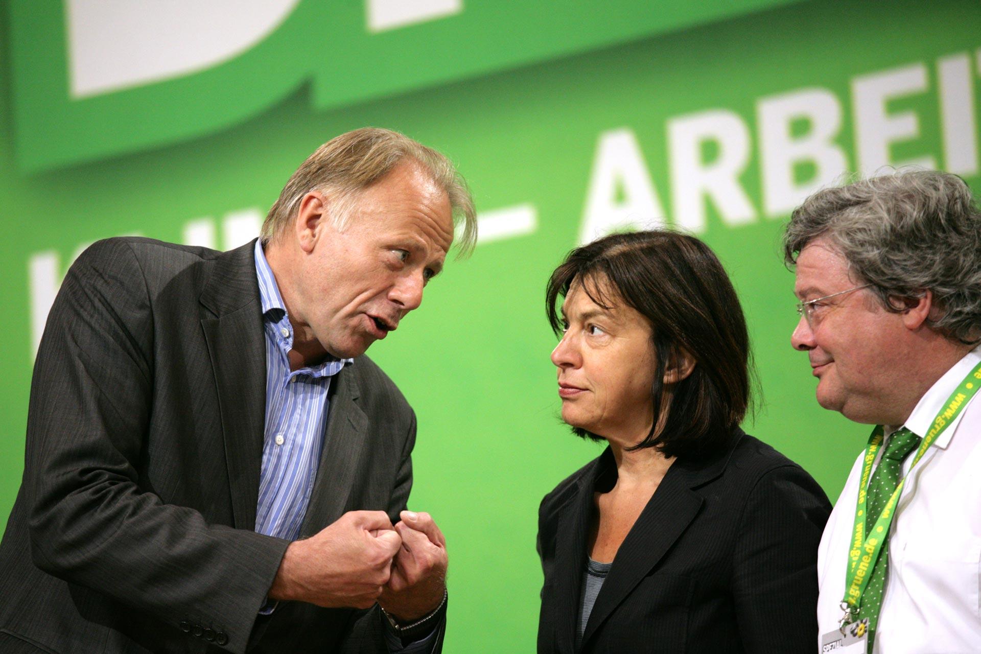Jürgen Trittin, Rebecca Harms und Reinhard Bütikofer auf dem Bundesparteitag in Berlin /BÜNDNIS 90 - DIE GRÜNEN