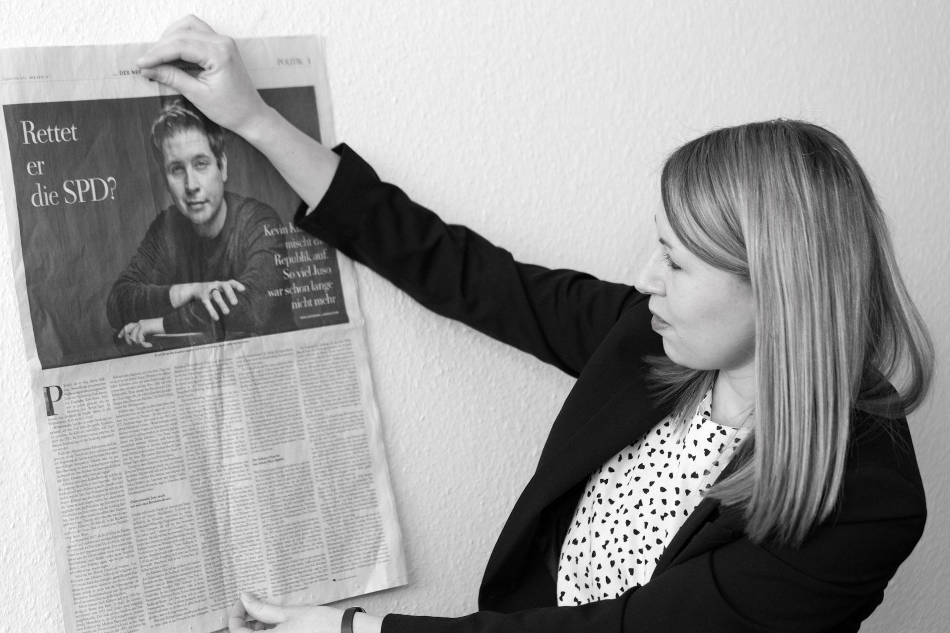 """Luisa Boos, Generalsekretärin der SPD in Baden-Württemberg -  """"Kopf über Herz"""" taz. die tageszeitung 03.03.2018"""
