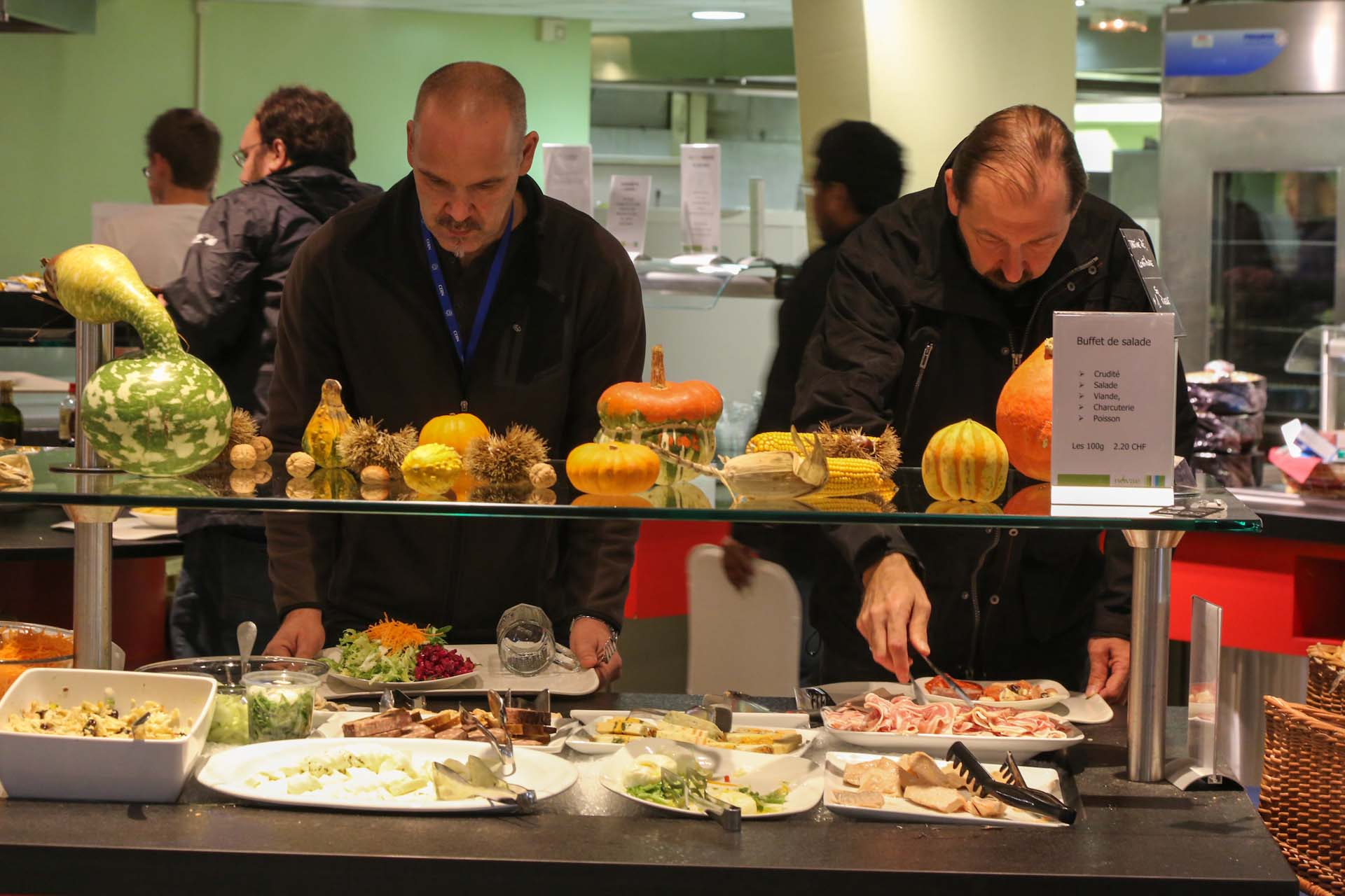 After a long working day, inside the lunchroom and cafeteria at the CERN