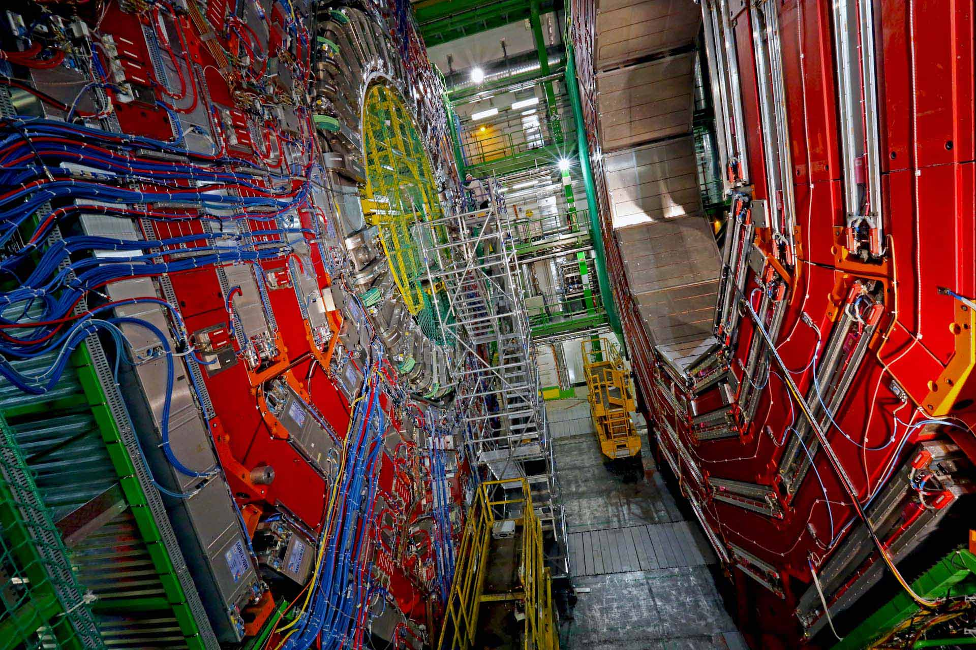 "100 meter depth, infront of the Compact Muon Solenoid (CMS) accelerator. ""The experiment is one of two large general-purpose particle physics detectors built on the Large Hadron Collider (LHC) at CERN in Switzerland and France."" -  ""After the Higgs hype..."" The Guardian 08.11.2013"