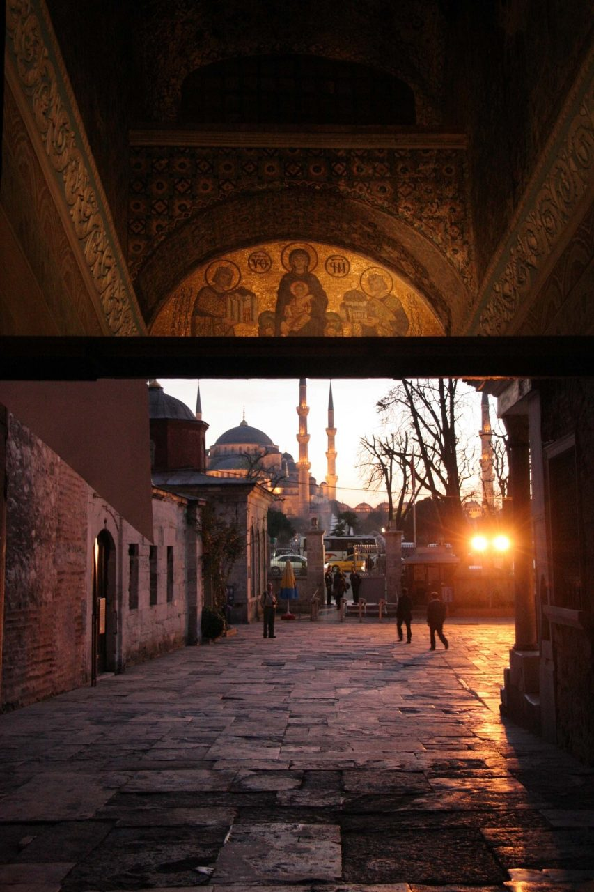View from the entrance of the Hagia Sophia, to the Blue Mosque