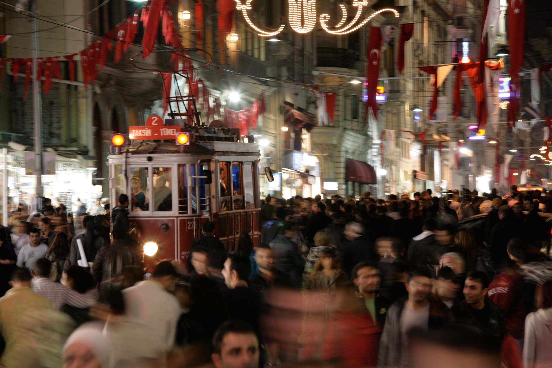 Rush hour close to midnight on the crowded İstiklal Caddesi, Beyoğlu