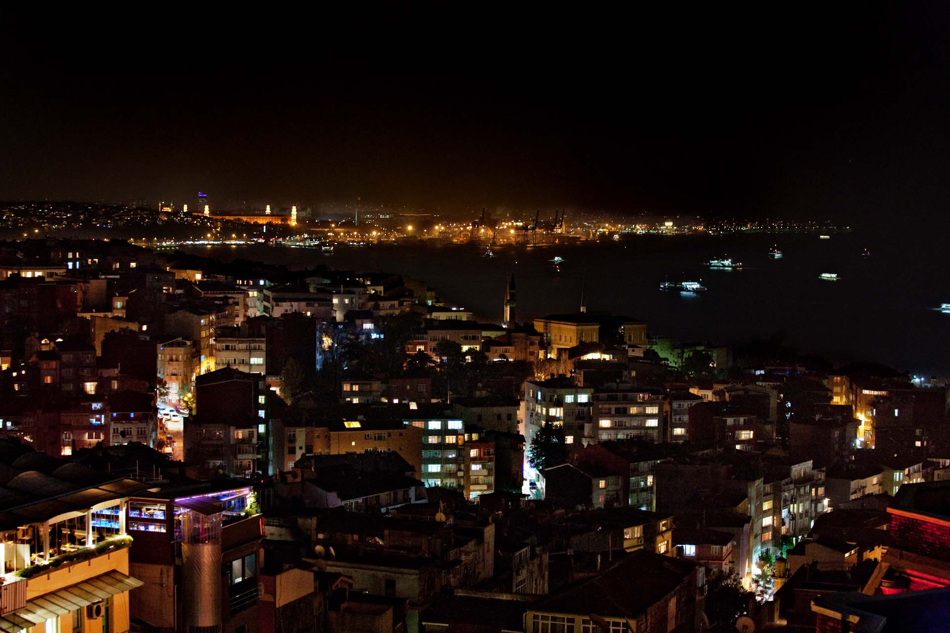 View from the 360istanbul.com in Beyoğlu, Cihangir, to the Bosporus