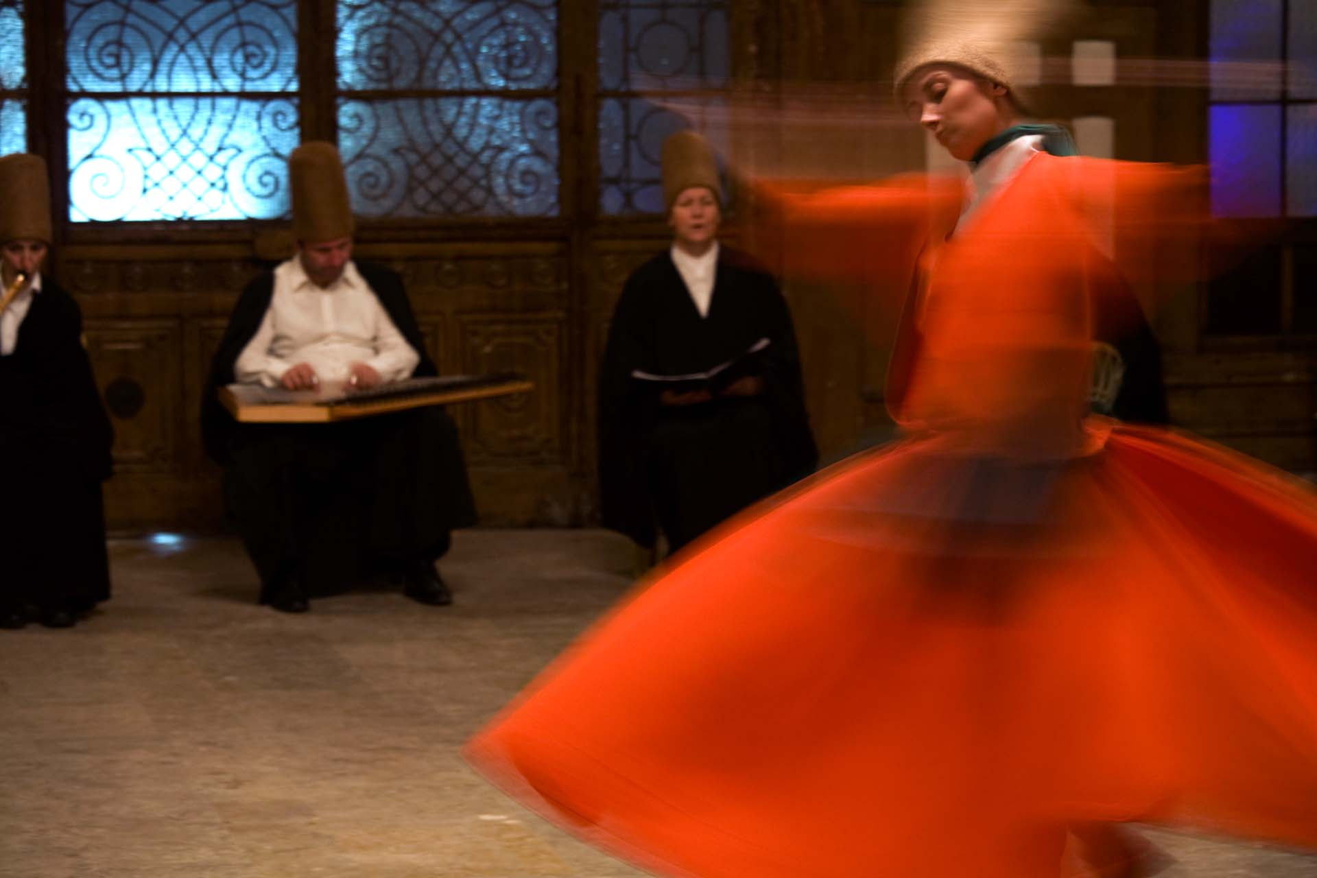 Sufi dance, which is also a prayer, in the old station of Sirkeci