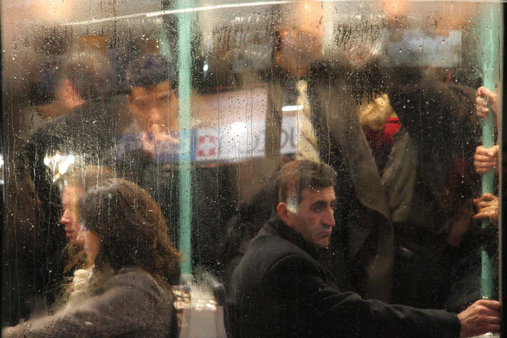 Cold rainy night, taking the tram in Çemberlitaş
