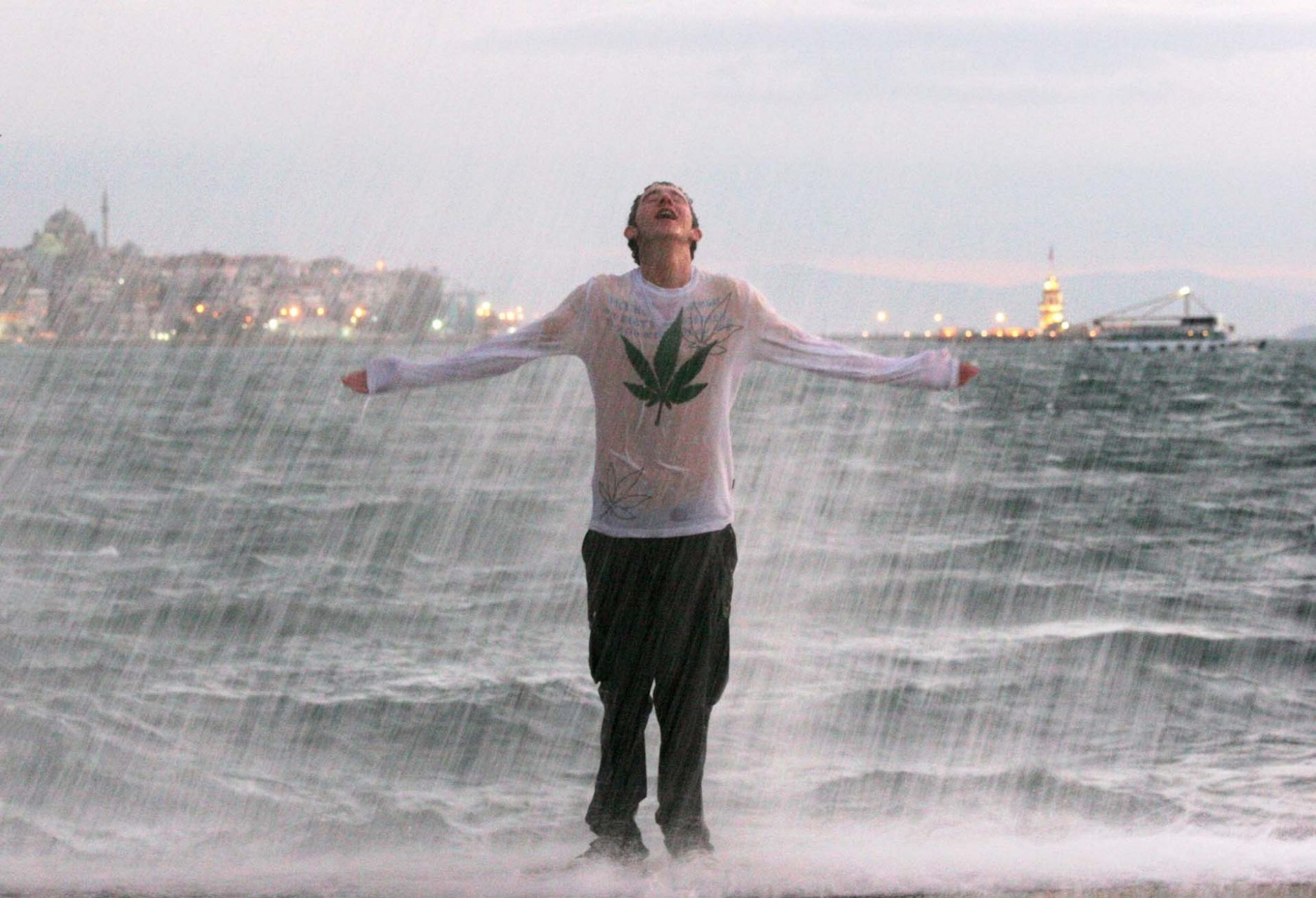 Bosporus waves provide a natural shower in Beşiktaş