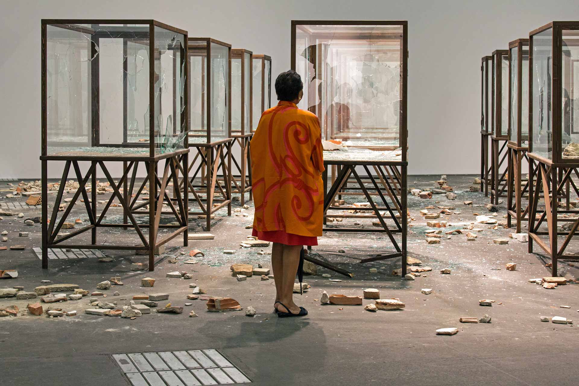 "Art Unlimited 2015: Kader Attia, ""Arab Spring"", 2014 – During the preview, the artist smashed the glass panes of the showcases in a performance -  ""Gefälliges trifft Sperriges"" Handelsblatt 19.06.2015"