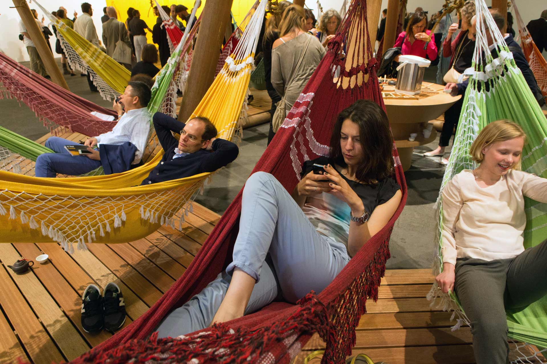 "Art Unlimited 2015: Relaxing in hammocks and drinking tea, Opavivará!'s, ""Formosa Decelerator"", 2014"
