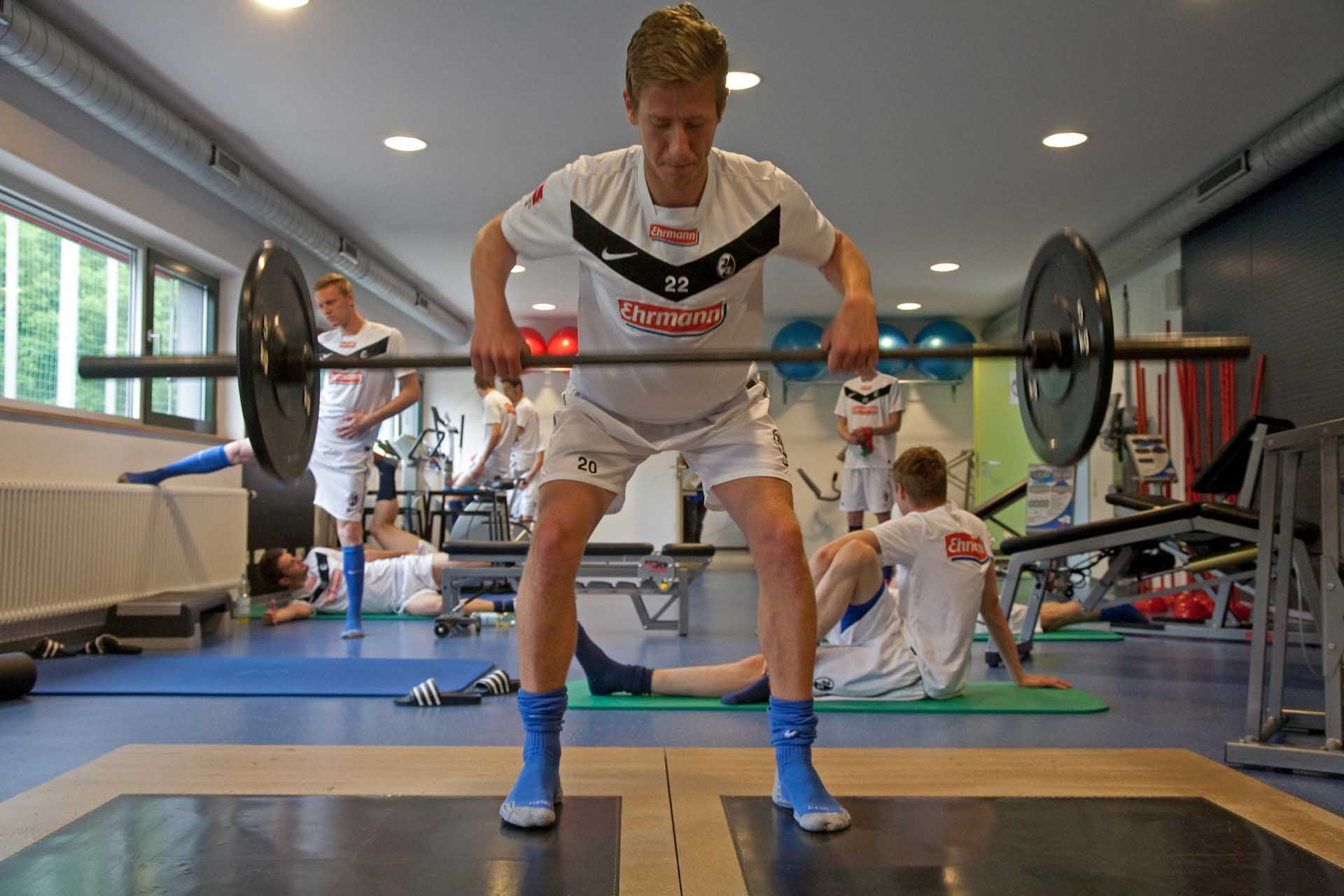A youth player trains at Freiburg's academy
