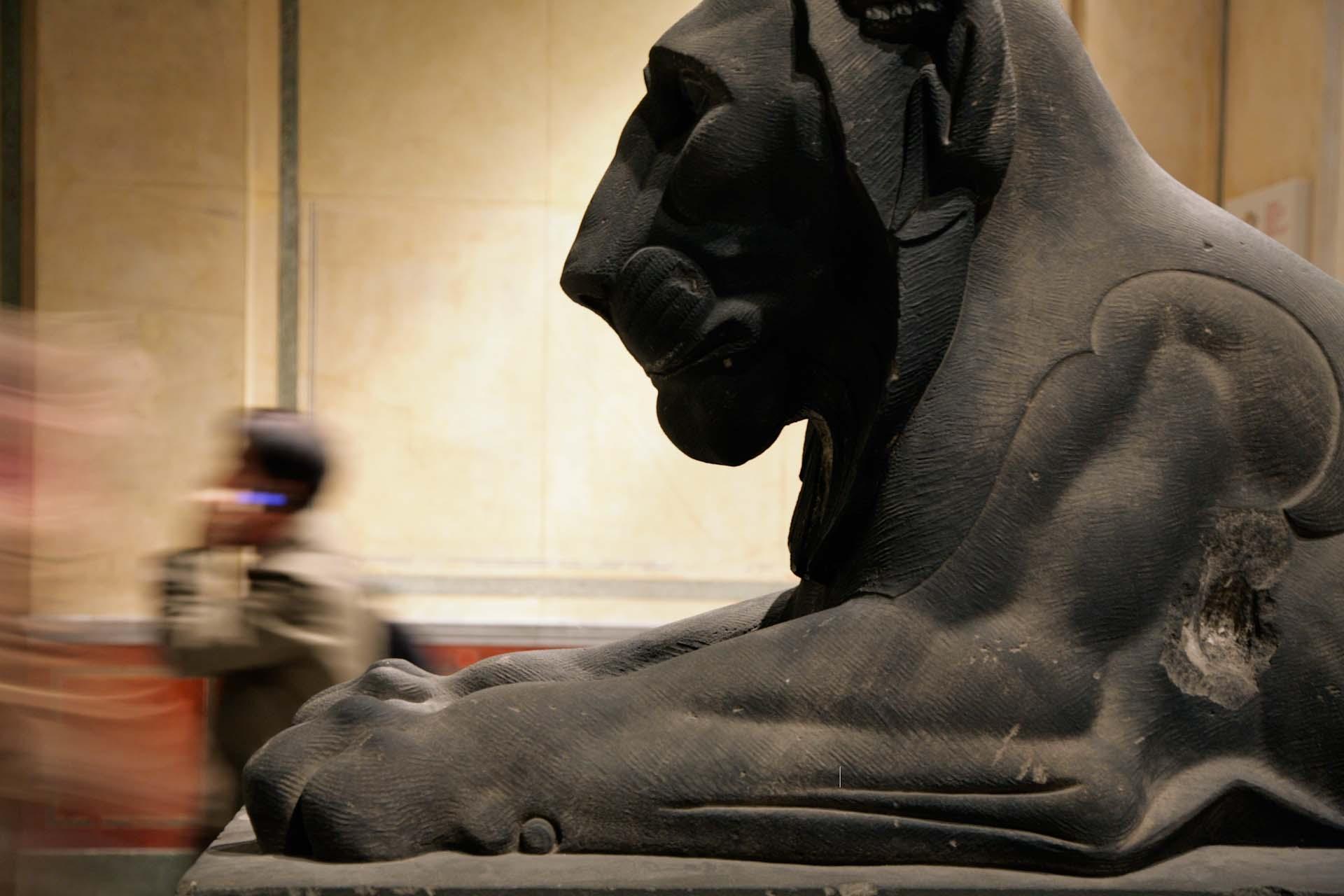 Repliken von Löwenfiguren von 1875 im Neuen Museum von David Chipperfield.