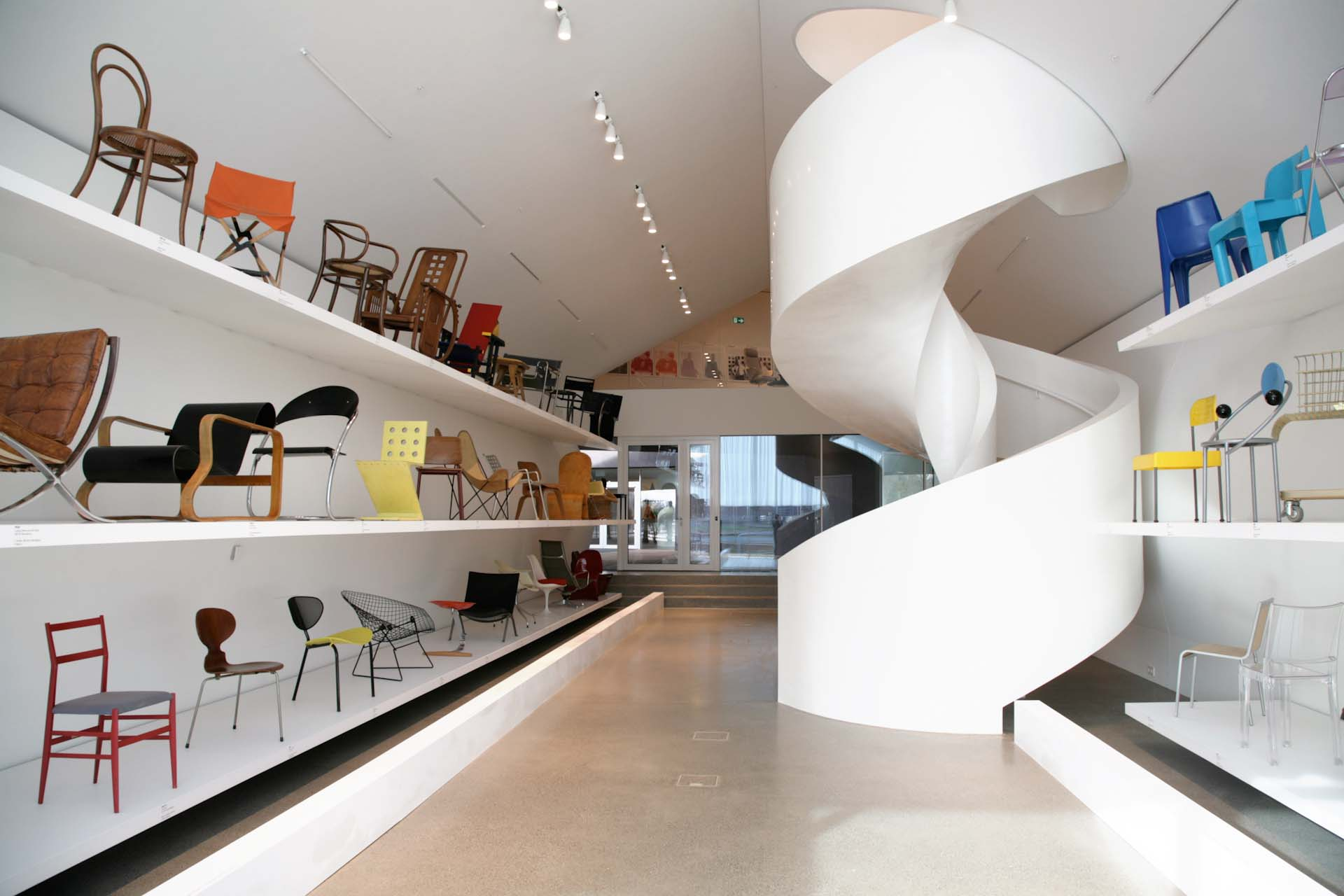 Various pieces from the Vitra Design Museum, which began as a collection of chairs only, are also on display.