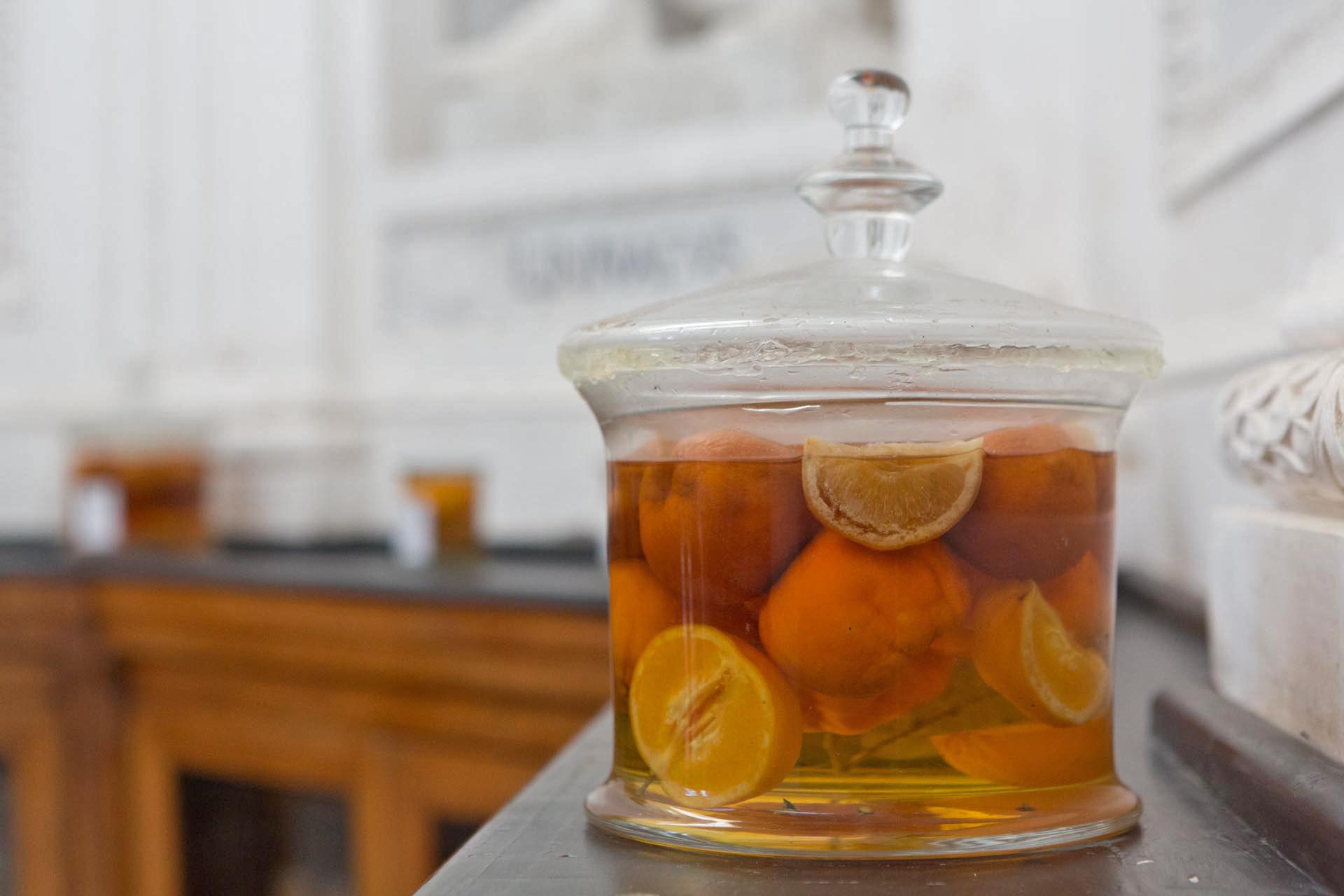 Eingelegte Zitrusfrüchte im Botanischen Garten – Pickled citrus fruits in Palermo's Orto Botanico which is part of the section 'Garden of Flows of The Planetary Garden. Cultivating Coexistence.'