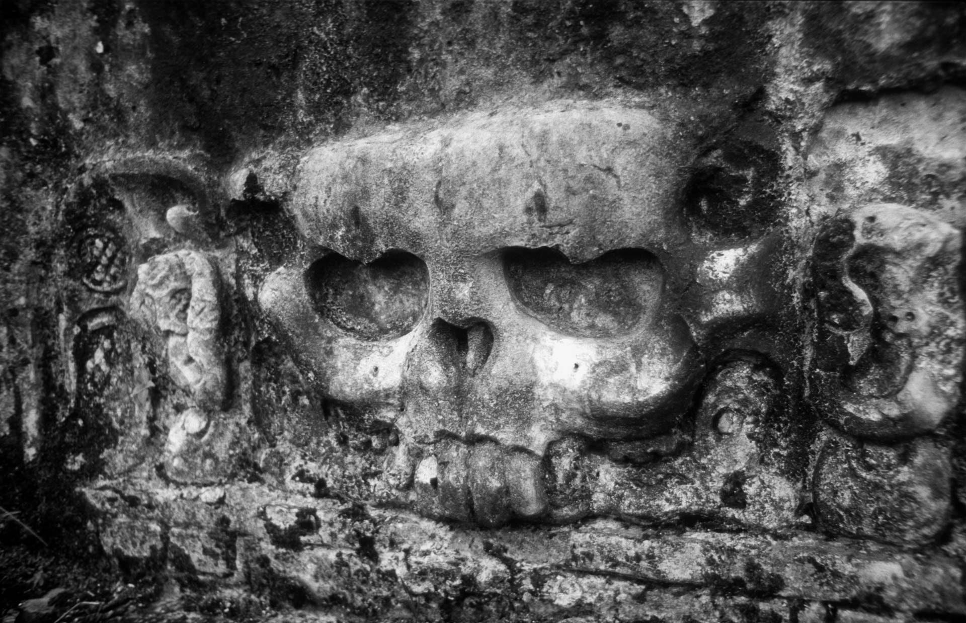 Relief eines Totenschädels auf der Wand eines Maya-Tempels, vermutlich zu kultischen Zwecken, wahrscheinlich in Chichén Itzá – Relief of a skull on the wall of a Maya temple, probably for cult purposes, not really sure if it was in Chichén Itzá