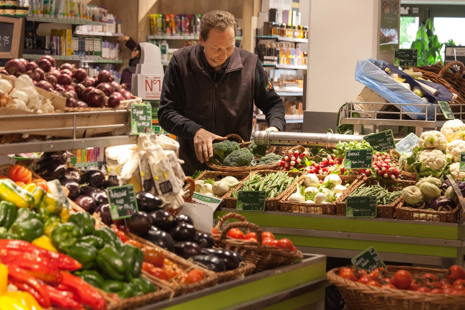Olivier List, director of the organic supermarket 'Les Halles de Cernay', size about 800 m² with 40 employees.